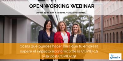 """Open Working Webinar """"Cosas que puedes hacer para que tu empresa supere el impacto económico de la COVID-19 (y la post COVID-19)"""""""